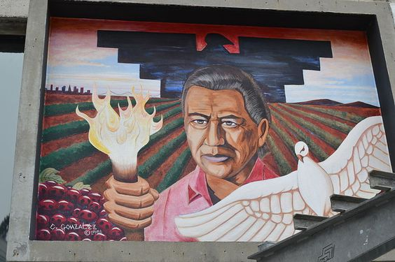 Here 39 s an image of the cesar chavez mural located in the for Cesar chavez mural