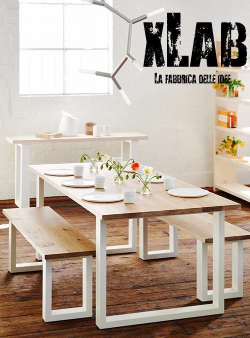 Matthew Tavolo Da Cucina In Legno Massello Di Pino E Gambe In Ferro Laccato Bianco Xlabdesign Disp Panca Per Tavolo Da Pranzo Tavoli In Legno Sale Piccole