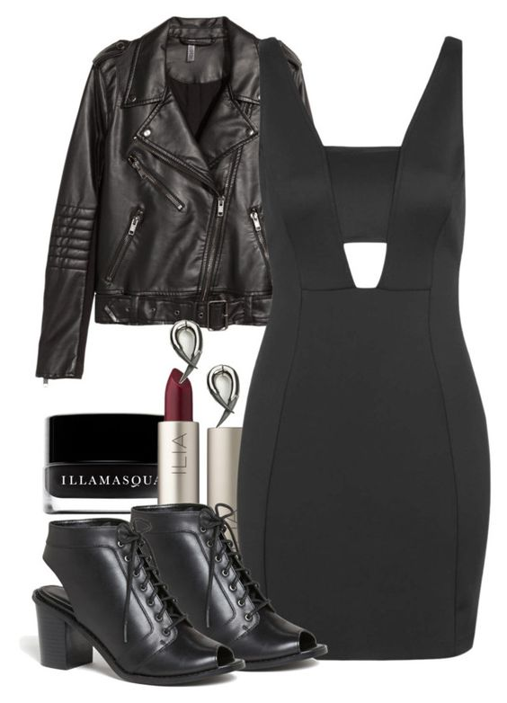 """""""Damon inspired New Years outfit"""" by tvdstyleblog ❤ liked on Polyvore featuring H&M, Illamasqua, Ilia, Topshop, Chinese Laundry, Kasun, women's clothing, women, female and woman"""