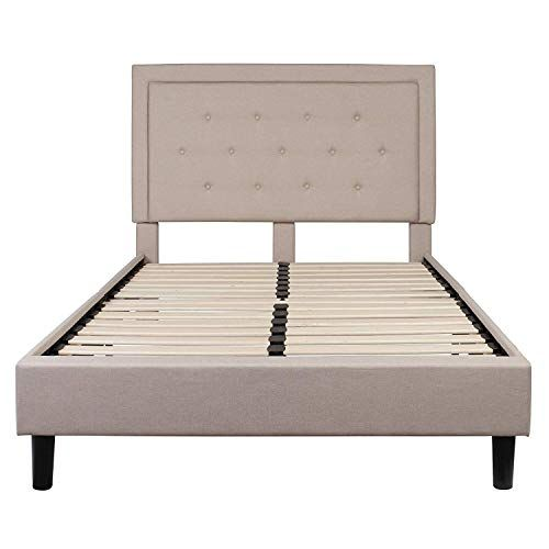 Swag Pads Full Beige Fabric Upholstered Platform Bed Frame With