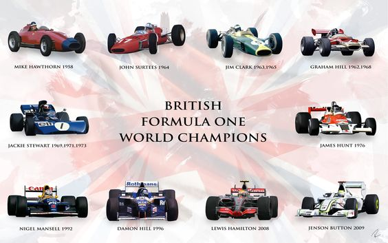 A Digital paint titled 'Best of British' showing the 10 British F1 Champions. Created by Ouroboros888 other works at www.obdesigns.co.uk