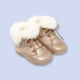 Wool-trimmed bootie - Girl - BRONZE - Jacadi Paris