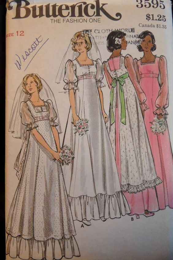 1970's Wedding Dress Pattern with Pinafore Size 12 $15.00