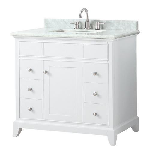 Nina 37 In Vanity With Carrara Marble Top White Marble Sink Marble Vanity Tops Carrara Marble Bathroom