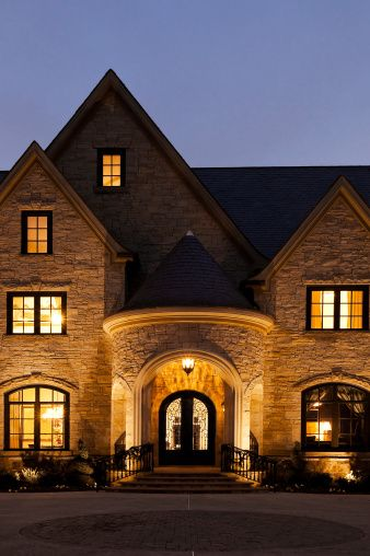 Exterior Night Lights From A Beautiful Mansion Night