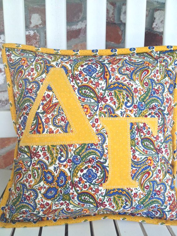 GORGEOUS Delta Gamma Paisley pillow. Can be made in ANY Greek letters! Simple Passions Sorority Apparel www.SimplePassions.com