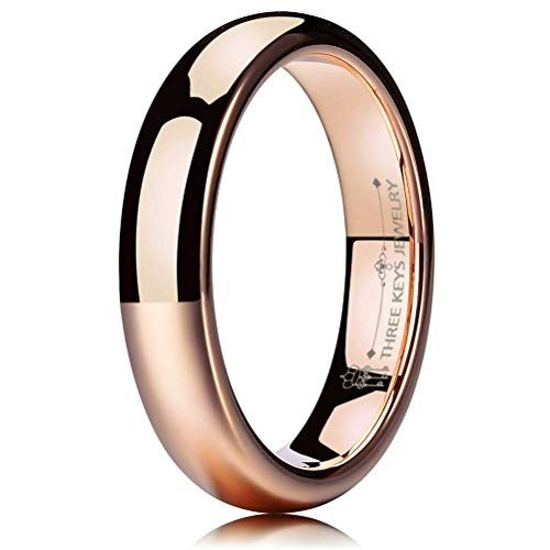 THREE KEYS JEWELRY 2mm 4mm 6mm 8mm Tungsten Wedding Ring for Women Mens Plated Black Polished Band