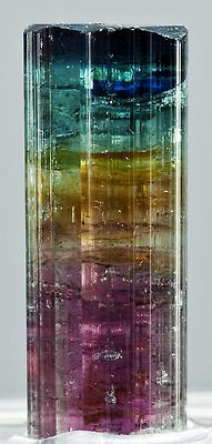 The many vibrant colors of tourmaline. According to an old Egyptian legend, is that the tourmaline, on its long journey up from the centre of the Earth, passed over a rainbow. In doing so, it assumed all the colours of the rainbow.: