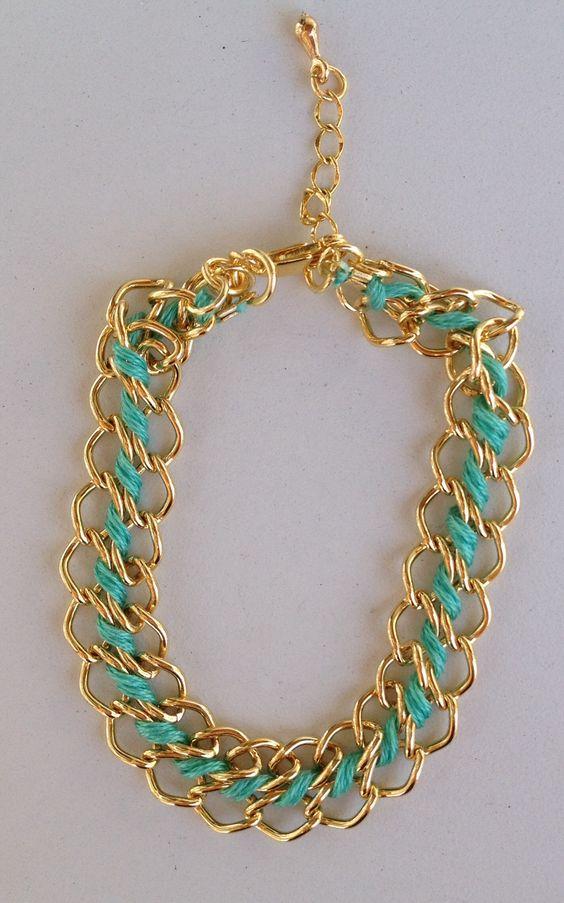 Green string bracelet chain pulseira corrente com fio verde trançado