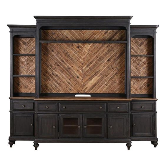 entertainment wall unit in french black and natural acacia nebraska furniture mart steampunk. Black Bedroom Furniture Sets. Home Design Ideas