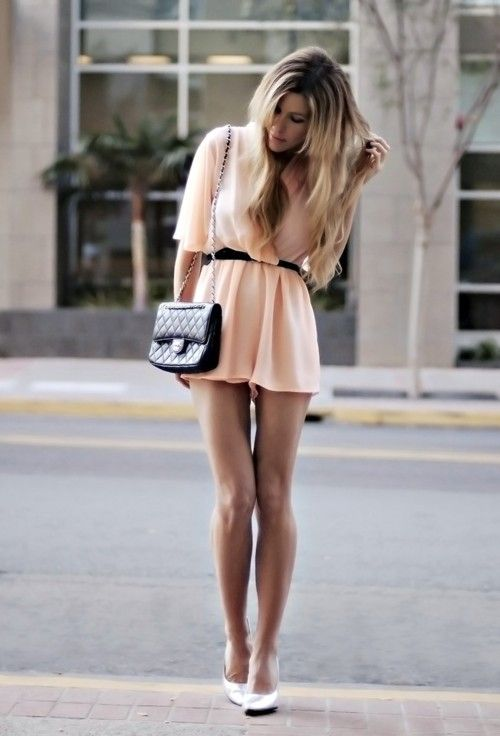 light pink mini dress paired with black belt and side purse ...