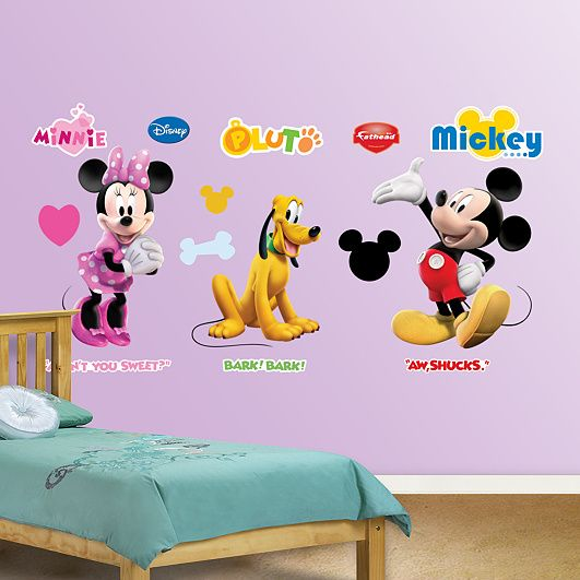 Minnie, Pluto and Mickey Fat Head.  Time to start decorating the grandkids room.