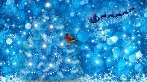 Another Blue Christmas - Blue, Christmas, Santa Claus, Finch, Tree, Sparkle, Holiday, Snowflake, Reindeer, Snow