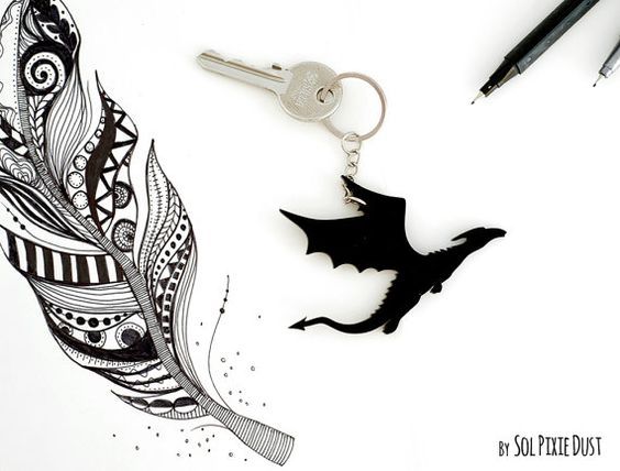 Key chain Flying Dragon Silhouette by SolPixieDust on Etsy