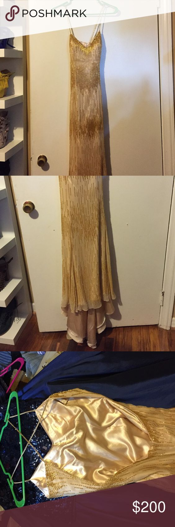 Prom Dress: Panoply Beautiful pale gold prom dress with lots of beading. Low, open back with criss-cross straps. Panoply, size 6. Worn once and in good condition. Panoply Dresses Prom