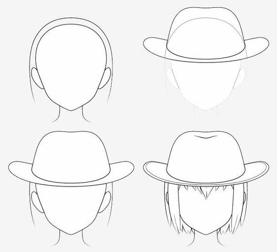 Từng bước vẽ mũ cao bồi anime