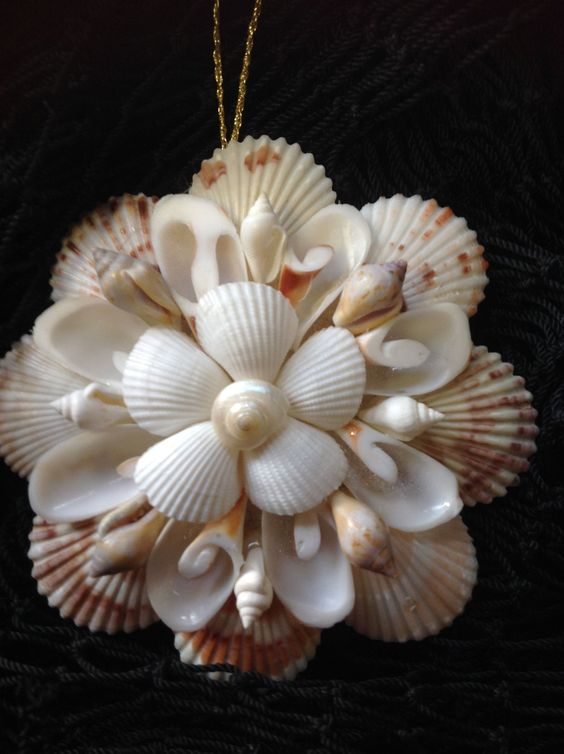 Shell mirror ornament beautiful christmas ornament and for Christmas tree ornaments made from seashells