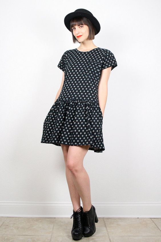 Vintage 80s Dress Black Dress T Shirt Dress Floral Print Mini ...