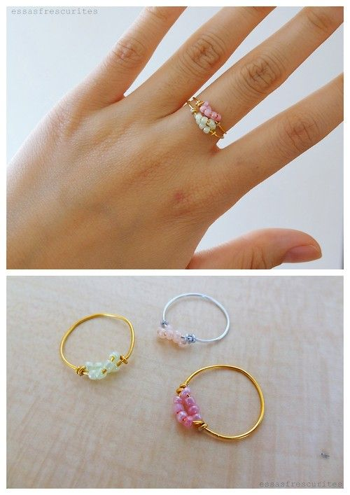 DIY Easy Delicate Twisted Wire Bead Ring Tutorial from Essas Frescurites here.This easy tutorial is in Portuguese that I translated in Chrome - but you can follow the photographs. For delicate jewelry DIYs go here:truebluemeandyou.tumblr.com/tagged/delicateand for wire DIYs go here:truebluemeandyou.tumblr.com/tagged/wire: