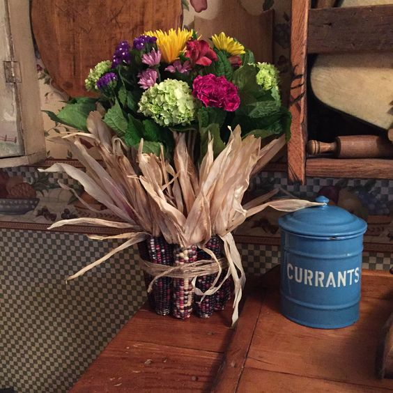 Indian corn vase, easy to make and very fall