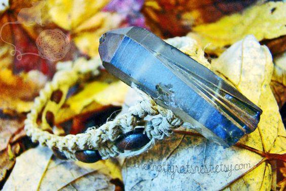 Blue Mystic Quartz Crystal Macrame Bracelet by TheKnottyRatsNest, $16.00