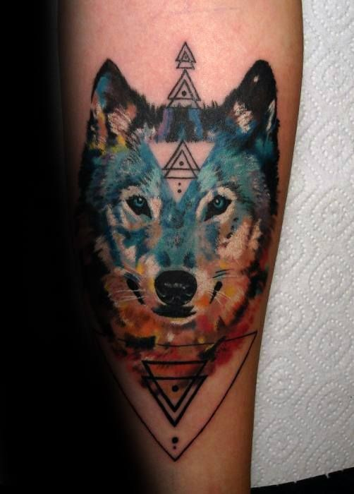 50 Wolf Watercolor Tattoo Designs For Men Cool Ink Ideas