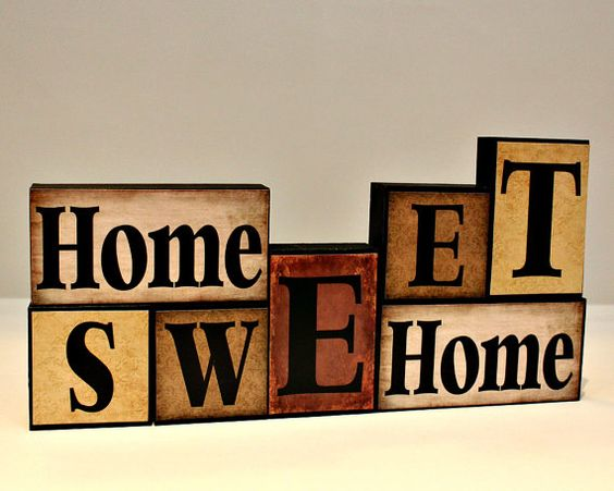 Home Sweet Home Wood Block - Wooden Letter Blocks - Real Estate Closing Gift - Mantle Decorations - Gifts for Home - Shelf Sitter Blocks