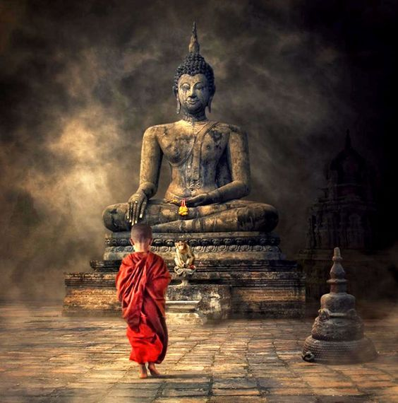Fantasy Art -Young Monk And The Buddha - Canvas Prints by James Britto | Buy Posters, Frames, Canvas & Digital Art Prints | Small, Compact, Medium and Large Variants