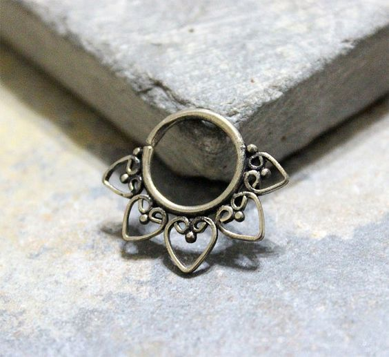 Antique Silver Septum Ring Earring Cartilage Ring by Purityjewel
