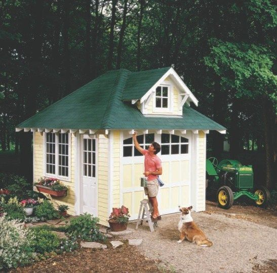Artist Studio Overlooks Guest Cabin With Rooftop Garden: Free 10X12 Garden Shed Plans