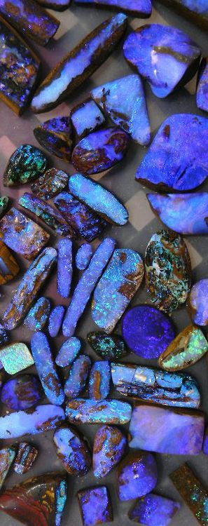 themagicfarawayttree:  Beautiful purple and blue boulder opal and opalized wood…cut by Bill Kasso