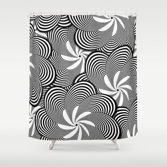 Curtains Ideas black shower curtain with white flower : Black and White Flower Pattern Home Decor Shower Curtain ...