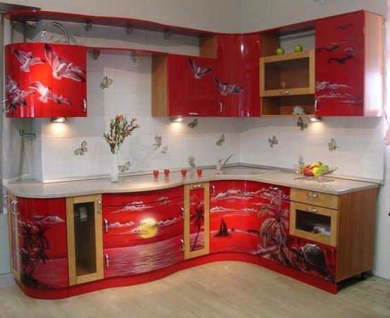 Красная кухня - необычно...... - Декор своими руками