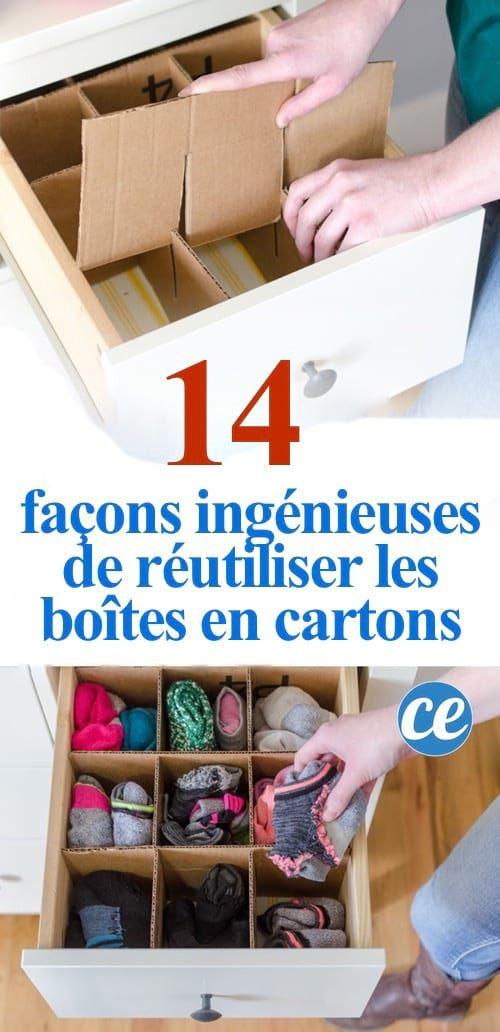 14 Facons Ingenieuses De Reutiliser Les Boites En Cartons Boite En Carton Reutiliser Rangement Carton