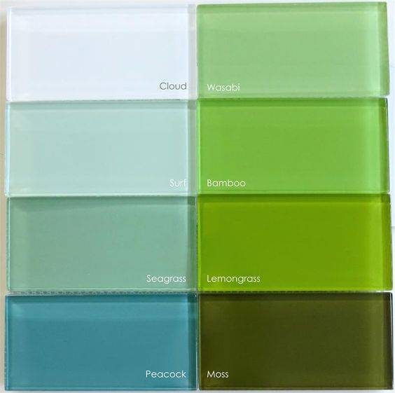 Lush 3x6 Bamboo Green Glass Subway Tile Surf Tiles