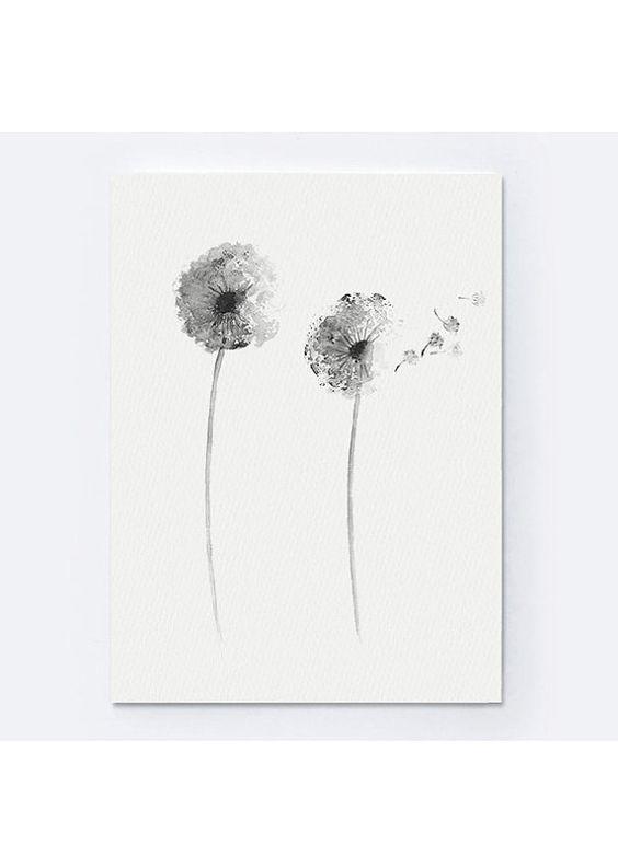 Peinture A L Aquarelle De Dandelion Grise Affiche Abstraite De