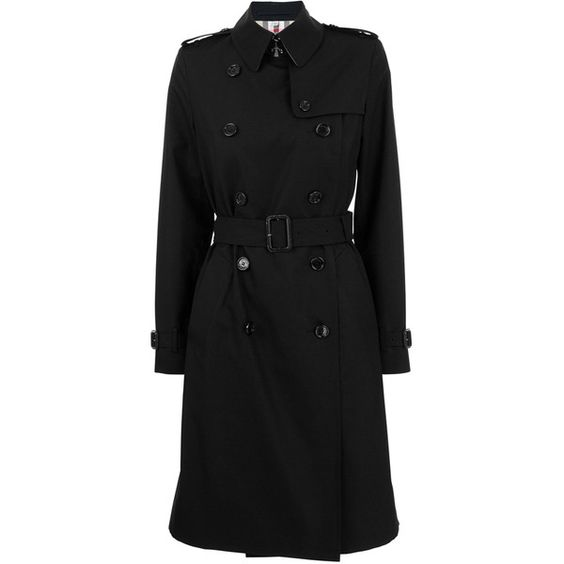 BURBERRY LONDON Poplin Double Breasted Long Trench ❤ liked on Polyvore