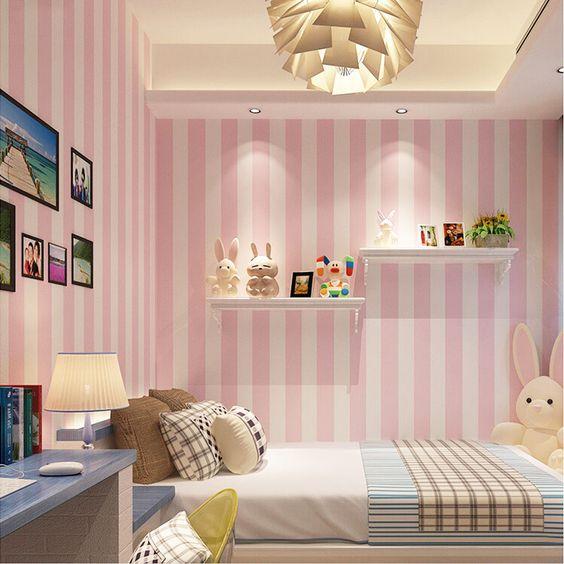 Quarto das meninas Linda Rosa E Azul Listras Moderno Papel De Parede Decoração Da Casa 3D Quarto Papel de Parede Sala Paisagem Moisture-Proof projetos(China (Mainland))