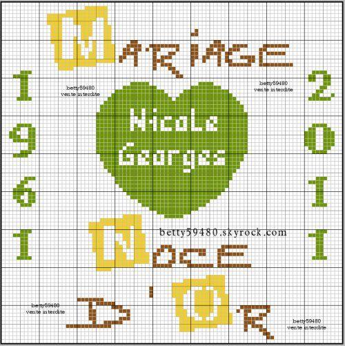 Amour love mariage point de croix cross stitch - Point de croix mariage grilles gratuites ...