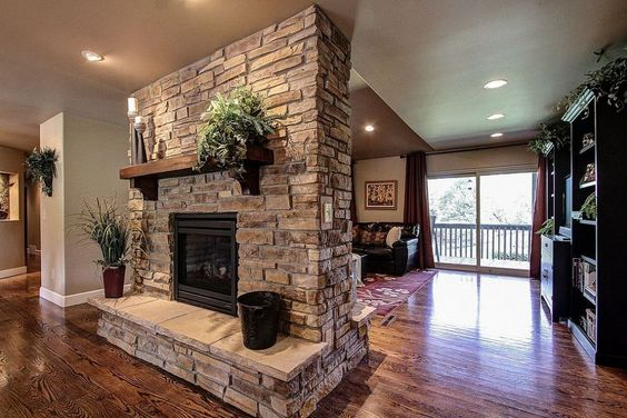 Parker co kitchen and fireplace reno stones for Double sided fireplace design
