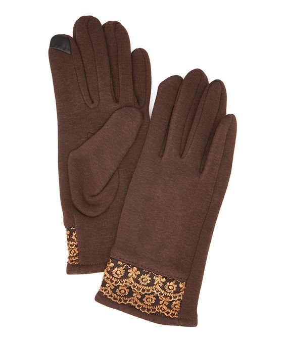 Look at this Jeanne Simmons Accessories Brown Lace Touchscreen Gloves on #zulily today!