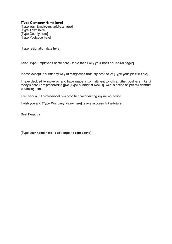 Template Email Resignation Sample Resignation Letter Short Notice 6 ...