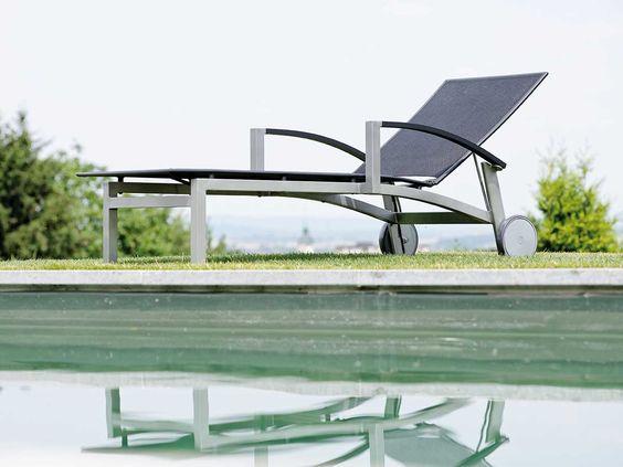 Stern Sonnenliege Lazy Aluminium graphit Textil schwarz Aluminiumarmlehnen kaufen im borono Online Shop