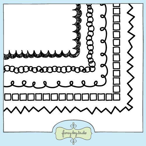 Doodle Border Digital Frames Clip Art Square Frames ...
