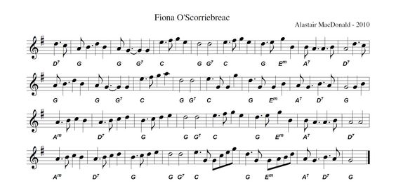 Fiona o' Scorriebreac.  Great Scottish tune written for a Great Orcadian! This is a 4/4 march suitable for dancing a Gay Gordons.