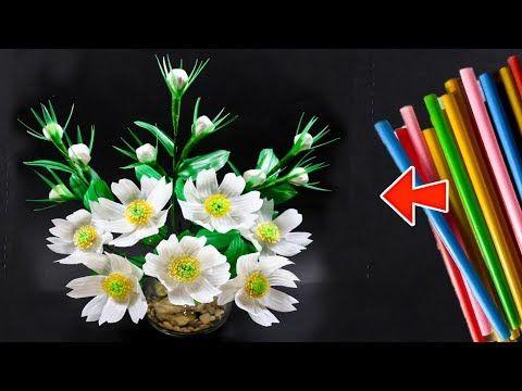 Cara Membuat Bunga Sedotan Kreatif Beautiful Flower Decoration