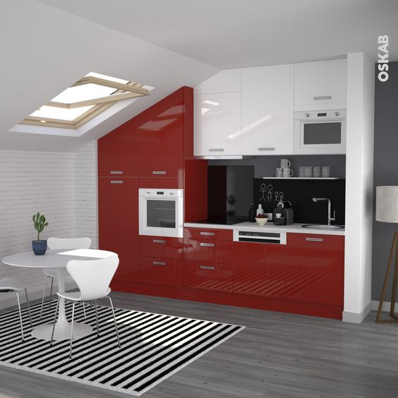 Cuisine rouge moderne fa ade stecia rouge brillant for Meuble rouge et blanc