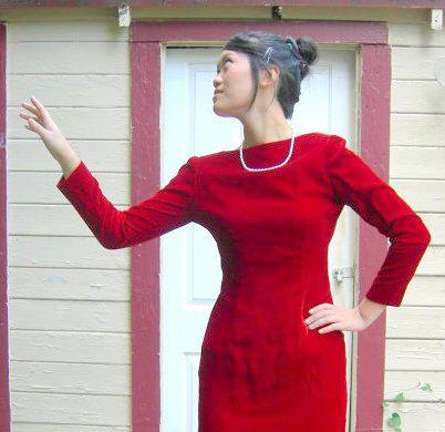 Vintage Red Dress Velvet Glamour fish tail by SassySenoritaVintage on Etsy https://www.etsy.com/listing/102325684/vintage-red-dress-velvet-glamour-fish
