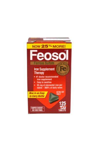 Feosol Iron Supplements, 125 Count by Feosol. $12.16. The form of iron doctors often recommend. Each feosol 125 tablet contains 65mg of elemental iron, equivalent to 325mg of ferrous sulfate which provides 360% of daily value. When your doctor suggests an iron supplement for iron deficiency anemia, ferrous sulfate is a time tested form of iron. Feosol offers three distinct types of iron each with unique benefits.