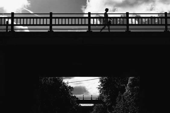 "366thingsilove: ""JUNE 2, 2016 - 154/366 THIS SILHOUETTED PEDESTRIAN ON LYNDALE AVENUE This is one of the many bridges over the Midtown Greenway, a former railway that has been converted into a cycling/pedestrian path through south Minneapolis. Until..."
